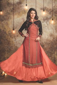 Peach Event Wear Designer Lehengha style Straight Dress With Embroidary Work 1806