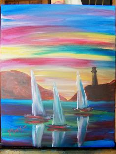 This painting is done during a Beginner Level class that lasts 2 hours. Sailing, Auction, Creative, Artists, Design, Candle, Artist
