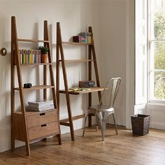 Our Sumatra bookcase ladder with desk is handmade by artisans from rustic reclaimed teak in Indonesia.