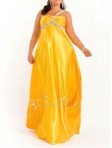 Elegant & Luxurious Empire Floor Length One Shoulder Sleeveless Dress