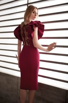 Wine red party dress O-Neck Prom Dress Big bubble sleeve homecoming dr – Alison Dress Simple Dresses, Elegant Dresses, Cute Dresses, Casual Dresses, Short Dresses, Fashion Dresses, Formal Dresses, Manu Garcia, Vetement Fashion