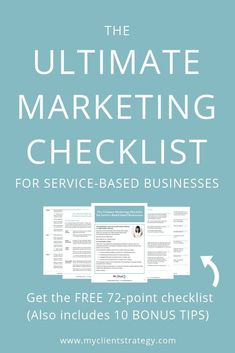 Comprehensive Ultimate Marketing Checklist - including 10 BONUS TIPS! Covers marketing strategy, branding, website optimisation, and marketing communications. Use this free checklist to make marketing your service-based small business easier. Inbound Marketing, Marketing Budget, Online Marketing Strategies, Content Marketing Strategy, Small Business Marketing, Marketing Plan, Marketing Digital, Marketing Communications, Online Business