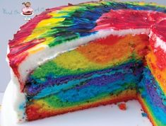 Bird On A Cake: Rainbow Tie Dye Cake sweets dessert treat recipe chocolate marshmallow party munchies yummy cute pretty unique creative food porn cookies cakes brownies I want in my belly ♥ ♥ ♥ Yummy Treats, Sweet Treats, Yummy Food, Yummy Yummy, Delicious Recipes, Tye Dye Cake, Ty Dye, Tie Dye Party, Cake Recipes