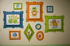 really like this idea! cute without having to paint the walls. I love the monster in the bigger blue frame