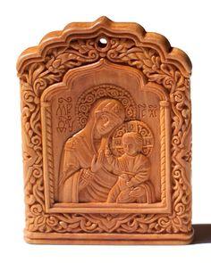 Carved icon miniature The Virgin Hodegetria 5×6.5×0.8 cm; apple-tree wood, natural linen oil varnish, 2003. Artists are Elena and Sergio Nikolenko
