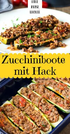 Zucchiniboote mit Hack aus dem Ofen - low carb, high protein - Eine Prise Lecker Quick and easy: courgette boats with minced meat from the oven. Low carb and high protein, only 285 calories per servin Healthy Low Carb Recipes, Low Carb Dinner Recipes, Healthy Protein, Clean Eating Recipes, Eating Clean, Healthy Meals, Supper Recipes, Protein Foods, Healthy Food