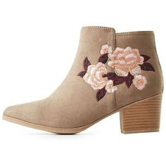 Charlotte Russe Embroidered Pointed Toe Booties ($33) ❤ liked on Polyvore featuring shoes, boots, ankle booties, taupe, low-heel boots, faux suede ankle booties, pointed toe ankle boots, taupe booties and faux suede boots