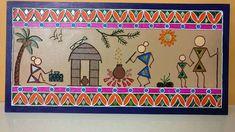 Discover recipes, home ideas, style inspiration and other ideas to try. Worli Painting, Fabric Painting, Pottery Painting, Madhubani Art, Madhubani Painting, Indian Art Paintings, Colorful Paintings, Mini Canvas Art, Reclaimed Wood Art