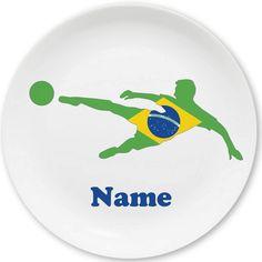 Zeigt Flagge für Eure Mannschaft! Das Fußball-Motiv hat das ganze Jahr Saison. Melamin-Teller von MEIN TELLER, personalisiert mit dem eigenen Namen