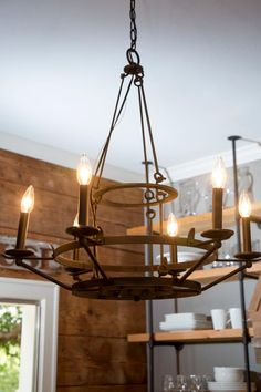 Check out this modern, industrial chandelier featured on HGTV's Fixer Upper.
