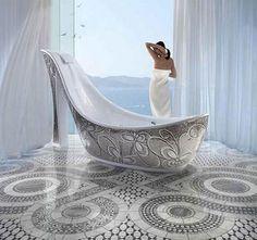70 Inspiring Feminine Bathroom Design: 70 Inspiring Feminine Bathroom Design With Unique Silver Bathtub And Ceramic Floor Dream Bathrooms, Beautiful Bathrooms, Unusual Bathrooms, Sicis Mosaic, Feminine Bathroom, Modern Bathroom, Yoga Studio Design, Exclusive Shoes, Relaxing Bath