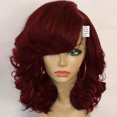 blonde look crimson red brazilian human hair curly bob wig Short Curly Wigs, Long Hair Wigs, Human Hair Wigs, Wavy Hair, Best Lace Front Wigs, Synthetic Lace Front Wigs, Synthetic Wigs, Medium Hair Styles, Curly Hair Styles