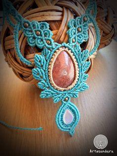Collar macrame azul con jaspe naranja y opalina / Collar orgánico y floral /Joyeria bohemia