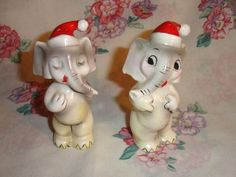 Vintage 1940s Christmas Elephant Santa Salt Pepper Shakers Japan | eBay
