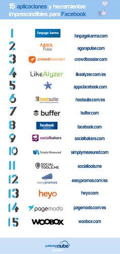 Hola: Una infografía con15 herramientas y aplicaciones imprescindibles para Facebook. Vía Un saludo