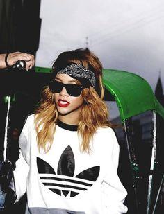 RiRi, bandana, Adidas sweater #Rihanna