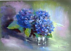 Oeuvre >> Breton Michel >> Hortensias bleus Oil Pastel Art, Pastel Paintings, Blue Hydrangea, Art Plastique, Watercolor Flowers, Art Gallery, Fine Art, Drawings, Artwork