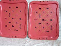 Set of two Vintage TV Lap or Serving Trays by morembwstuff on Etsy Tv Trays, Serving Trays, Kitchen Tray, Vintage Tv, Trending Outfits, Unique Jewelry, Handmade Gifts, Pink, House