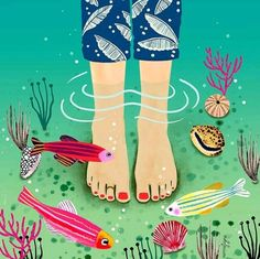 Dipping my tootsies in the sea 🌊🐠 Art Drawings For Kids, Drawing For Kids, Art For Kids, Spring Art, Summer Art, Paper Crafts For Kids, Arts And Crafts, 5th Grade Art, Art Lessons Elementary