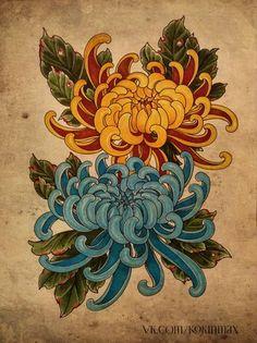 Стена Japanese Drawings, Japanese Art, Art Floral, Crisantemo Tattoo, Tattoo Aquarelle, Japanese Flower Tattoo, Japanese Flowers, Different Drawing Styles, Kunst Tattoos