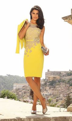 Wishesbridal Formal Illusion Knee Length Yellow #Satin Sheath Column #MotherOfTheBrideDress With Jacket B2lr0021