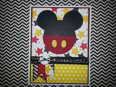 Handmade Mickey Mouse Card by ItsPolkaSpotted on Etsy, $3.50