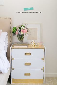 #gold, #diy, #storage, #2014, #nightstand, #bedroom, #white, #ikea, #dresser, #brass, #gold-leaf, #ikea-hack Photography: Ruth Eileen - rutheileenphotography.com Read More: http://www.stylemepretty.com/living/2014/03/11/tips-on-starting-an-indoor-herb-garden/