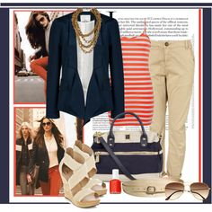 When worn with a classic blazer and khakis, nautical details like a rope-chain necklace, striped tank, and wedge sandals look smart and professional. Bonus points for the navy bag good for work or play.