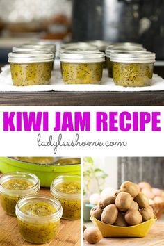 Kiwi jam is simple to make and delicious! This winter time jam is made with less sugar, no store-bought pectin, and lots of ripe kiwis. It's also simple to can and it lasts on the shelf for months. Jelly Recipes, Jam Recipes, Canning Recipes, Freezing Vegetables, Freezing Fruit, Kiwi Jam, How To Make Jelly, Marmalade Recipe, Fruit Preserves