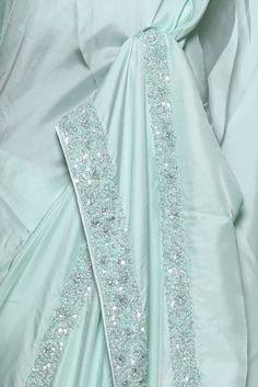 Celeste Green Cutdana Embroidered Satin Saree-PF1317 Satin Saree, Kurti Neck Designs, Traditional Looks, Pakistani Outfits, Green Stone, Weeding, Sarees Online, Floral Tie, Party Wear