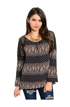 - Juniors Sizing - 100% POLYESTER - USA - This chic and sophisticated long sleeve top features a scoop neckline, antique print fabric, and sheer lace shoulder panels. - Dress up for the office or a da