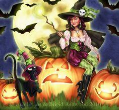 Pin-Up Art, Witch Art, Pagan Art, Wiccan Art by Brigid Ashwood Halloween Pictures, Halloween Cat, Holidays Halloween, Halloween Tricks, Happy Halloween, Samhain Halloween, Halloween Night, Fantasy Kunst, Fantasy Art