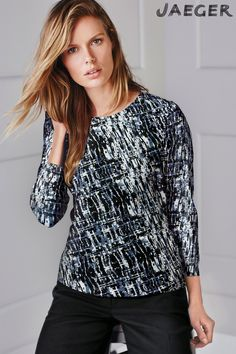 Buy Blue Jaeger Wave Print Jersey Top online today at Next: Canada