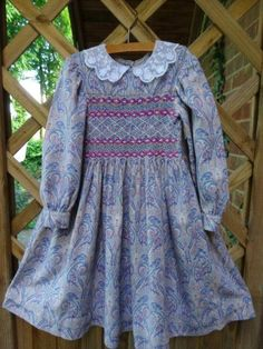 Child's dress in Liberty fabric (wool/cotton mix) hand smocked by Mary Addison 16.7.14