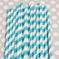 Striped Paper Straws: Peacock   ($4 for 20)