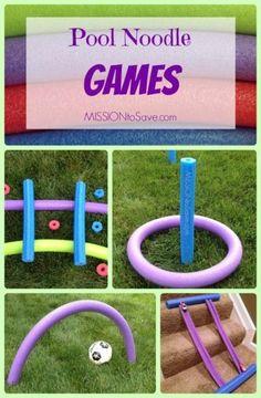 Fun, Easy, DIY Pool Noodle Games- no water needed!