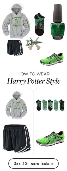 """""""Slytherin Team Captain"""" by hollyplake on Polyvore featuring OPI, Mizuno and NIKE"""