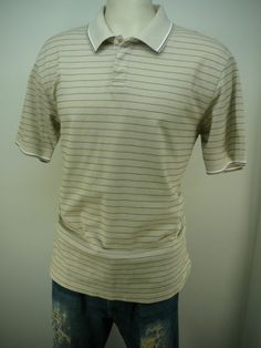 mens - TURNBURY - shirt - M - Free Shipping - SS casual 2 button polo stripes #Turnbury #PoloRugby