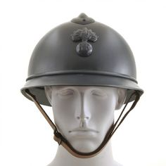 french helmet ww2 - Google Search Blue Gray Paint, Blue Grey, French Armed Forces, Army Helmet, French Army, Leather Holster, Troops, Soldiers, World War I