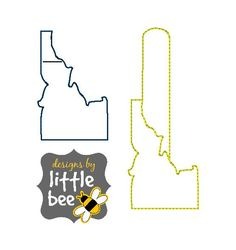 state of idaho love key fob AND snap tab design in 4x4 single or multi needle sew pes dst +more Instant Download! bean stitch, monogram.