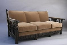 SOLD BS 4568. Spanish Revival Wood-frame Sofa, Seating, Spanish Revival, Mediterranean and European Antiques at Revival Antiques
