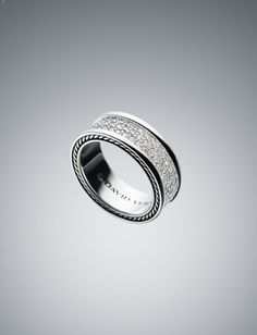 David Yurman Weddig Band - 8.5mm White Diamond Pave Ring - FUTURE HUBBY!