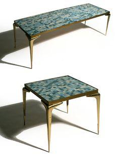 ITALIAN BRASS MOSAIC TILE TABLES