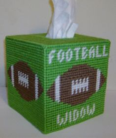 FOOTBALL WIDOW Tissue Box Cover - REDUCED Price - Ready to Ship Plastic Canvas Books, Plastic Canvas Coasters, Plastic Canvas Tissue Boxes, Plastic Canvas Crafts, Plastic Canvas Patterns, Tissue Box Holder, Tissue Box Covers, Football Canvas, Kleenex Box