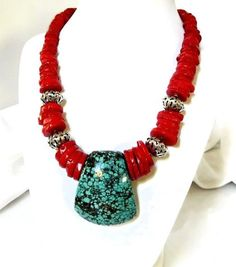 Red Coral Necklace Turquoise Necklace Green Red by MsBsDesigns, $128.00