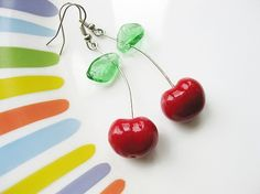 SO CUTE! :) Cherry Clay Earrings by smafactory on Etsy, $17.00