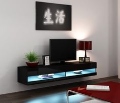 Made of engineered wood and MDF. Easy to Assemble Modern TV Console. Hanging TV Stand / Hanging Furniture for up to TV screens. Living Room Cabinets, Living Room Tv, Tv Cabinets, Living Room Modern, Modern Wall, Floating Tv Unit, Floating Tv Stand, Glass Tv Stand, Floating Wall