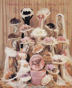 "White Victorian Ladies Hats from ""Romantiska Hem"" blog."