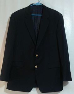 Lauren Ralph Lauren mens navy blue wool Jacket Sport Coat 46L 2 button Blazer  #LaurenRalphLauren #TwoButton