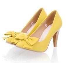 Yellow Bowknot Embellished High Heel Pumps. lovelovelove